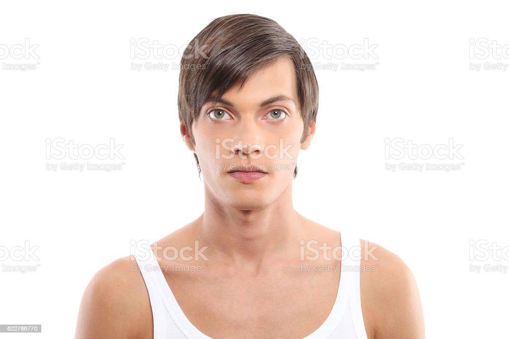 male portrait on white background stock photo