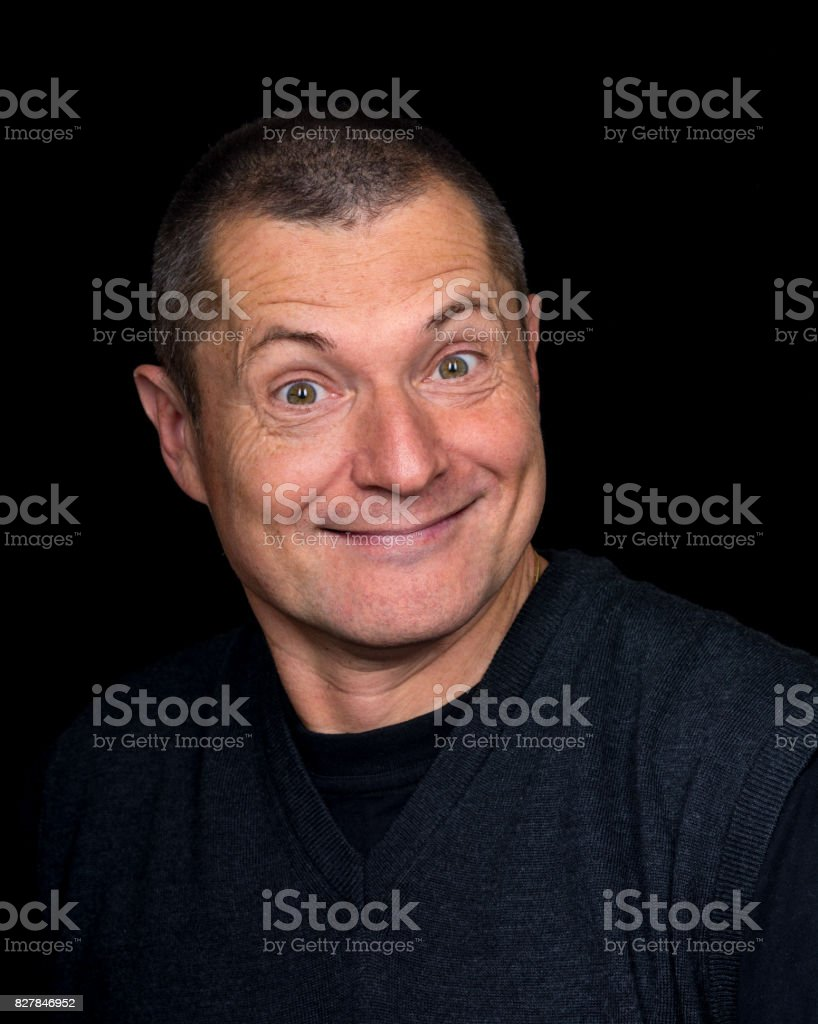 male Portrait with grotesque emotions stock photo
