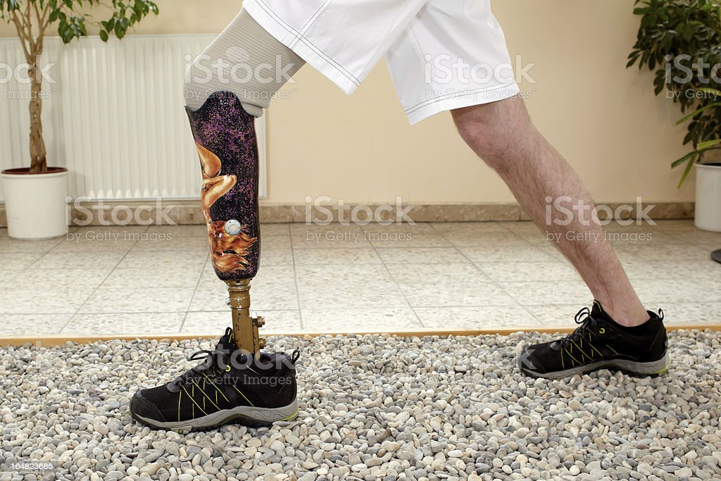Male posthesis wearer training stock photo