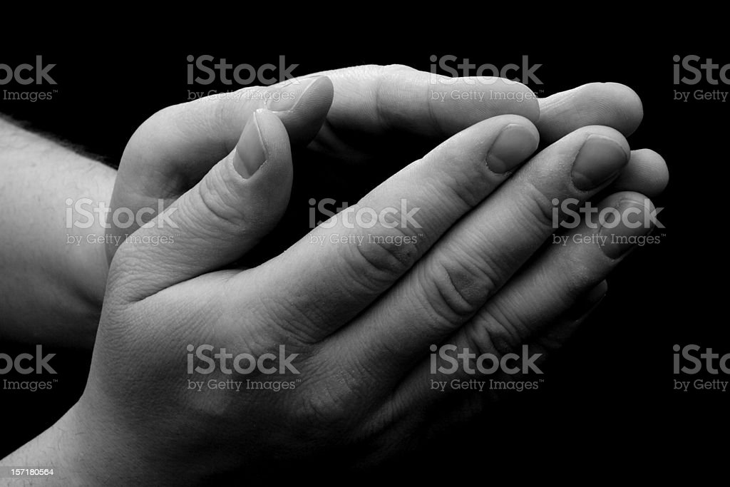 Male Praying Hands - Black and White royalty-free stock photo
