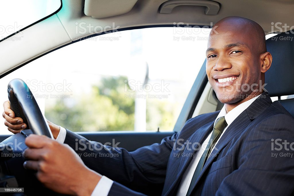 Male Professional Driving Car stock photo