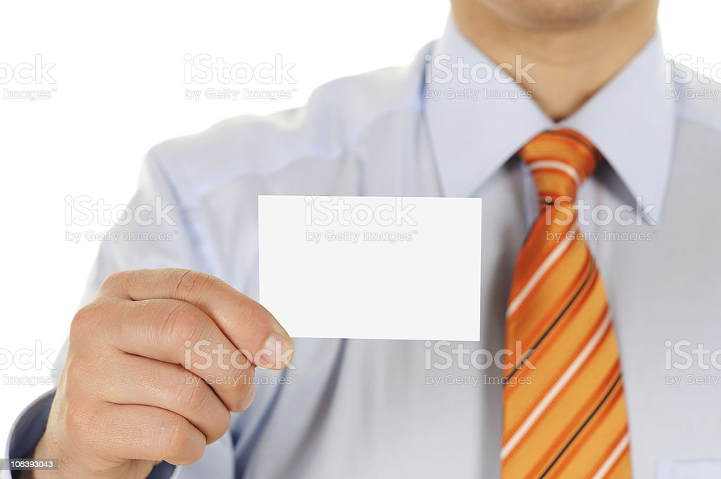 Male Professional holding Business Card stock photo