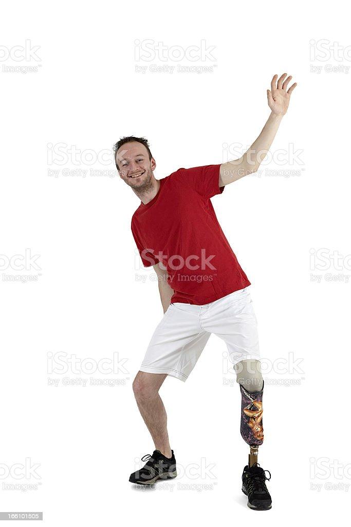 Male prosthesis wearer demonstrating balance royalty-free stock photo
