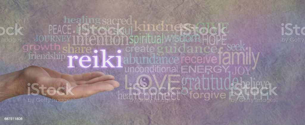 Male Reiki Healer with Healing Word Cloud stock photo