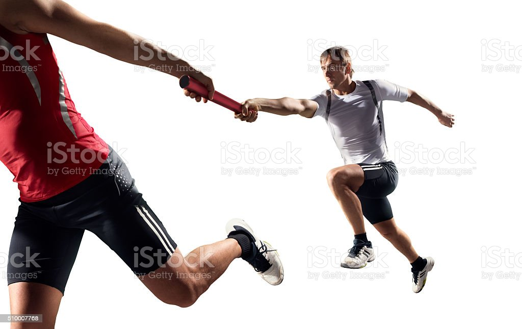 Male relay runner sprinters isolated stock photo