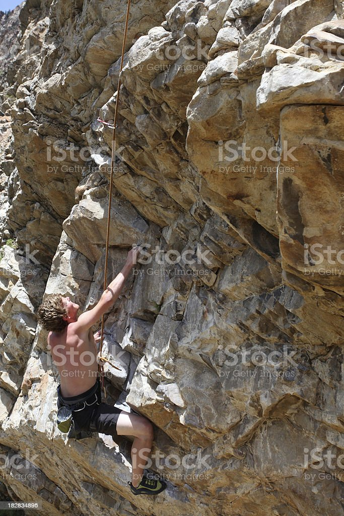 Male rock climber view from above royalty-free stock photo
