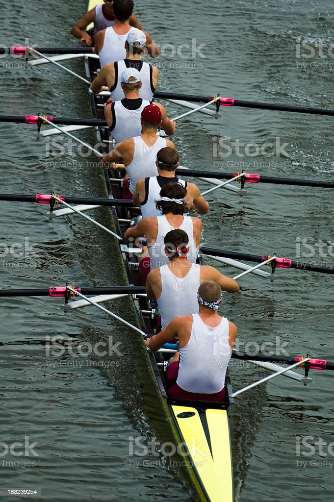 Male rowing team on ongoing competition stock photo