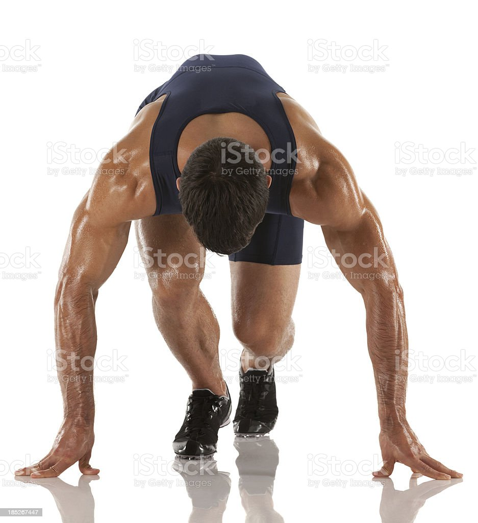 Male runner at starting line before race royalty-free stock photo