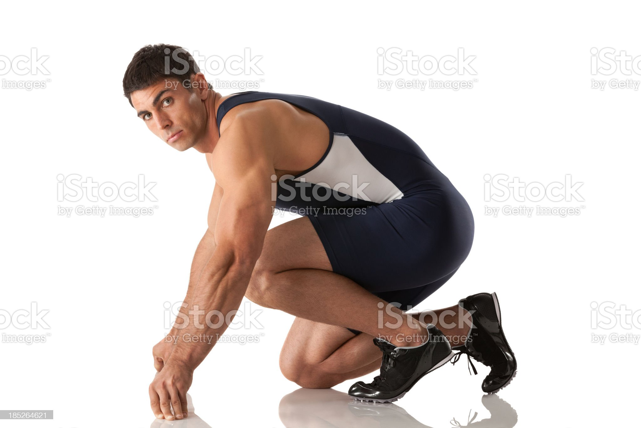 Male runner at the starting line royalty-free stock photo