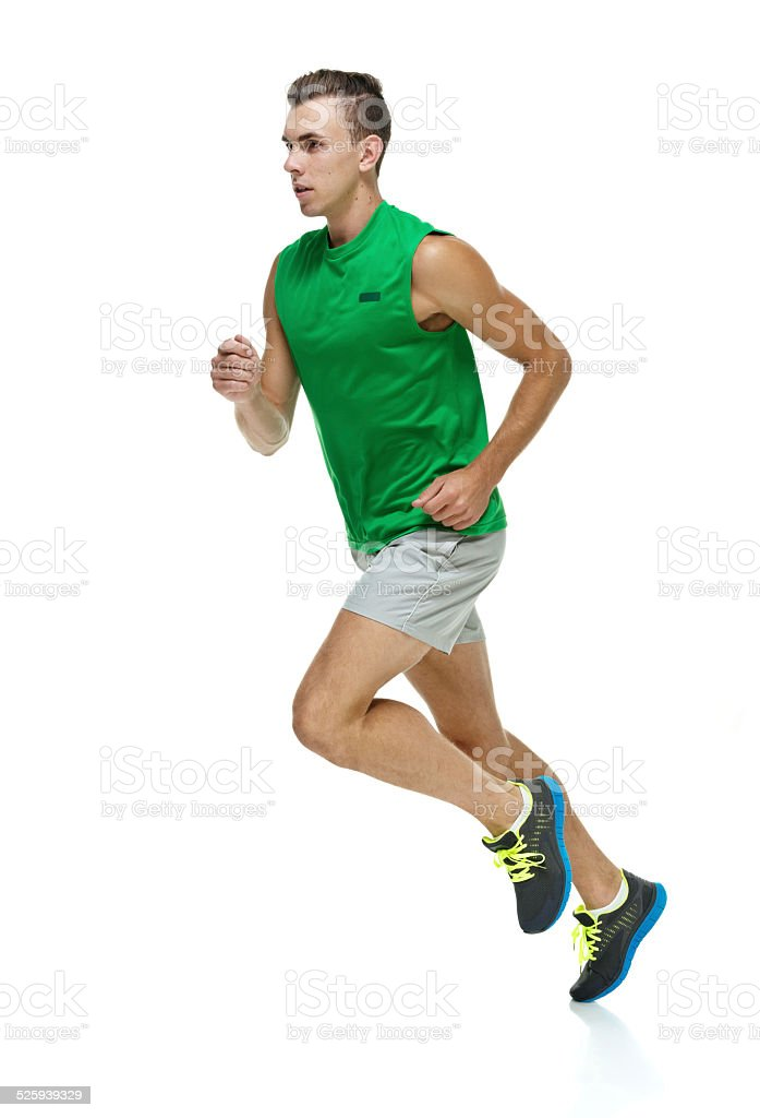 Male runner running stock photo