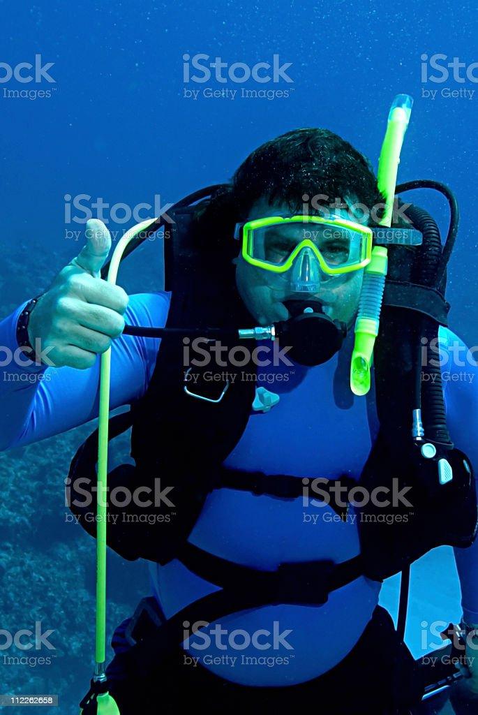 Male Scuba Diver hand signal stock photo