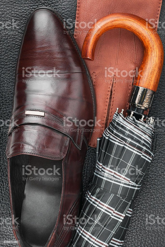 Male set of fashion accessories, shoes, umbrella, gloves stock photo