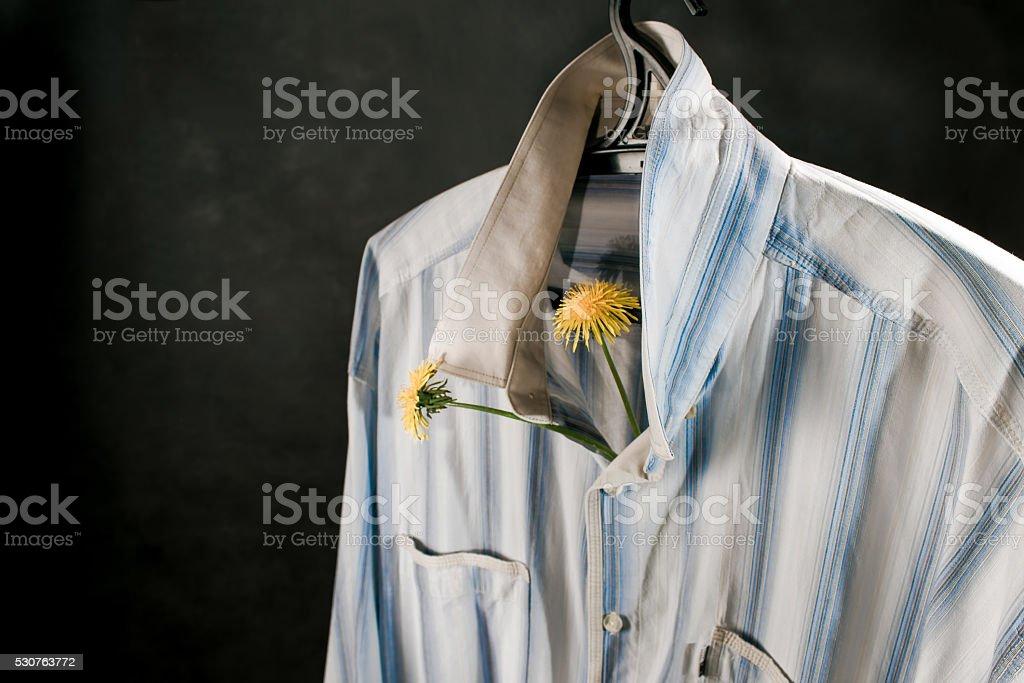 Male shirt on hanger stock photo