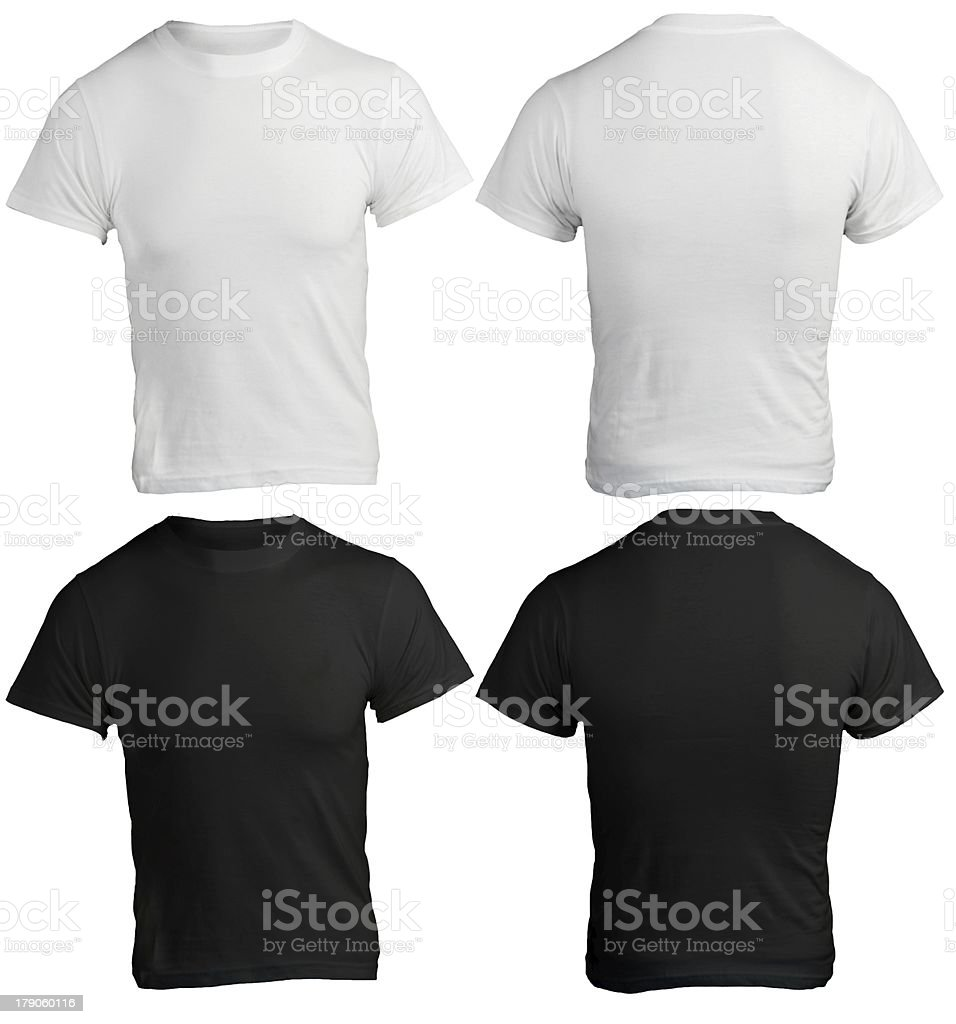 T shirt white black - Male Shirt Template Black White Front And Back Stock Photo