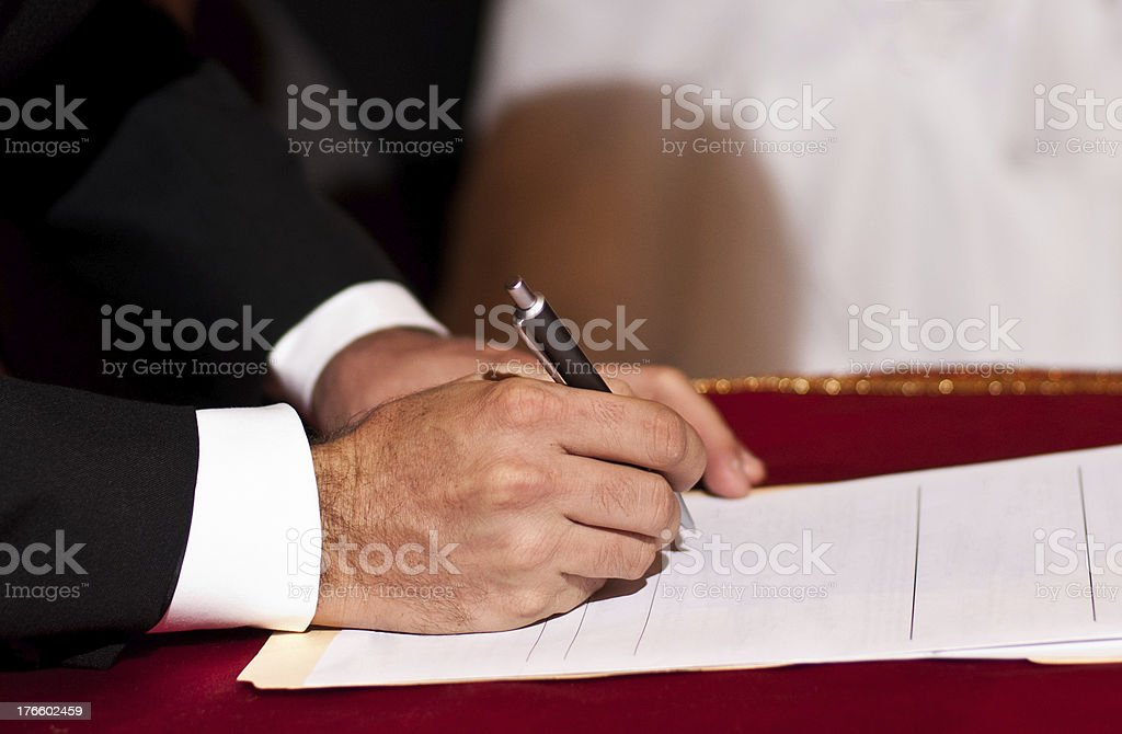 Male signing royalty-free stock photo