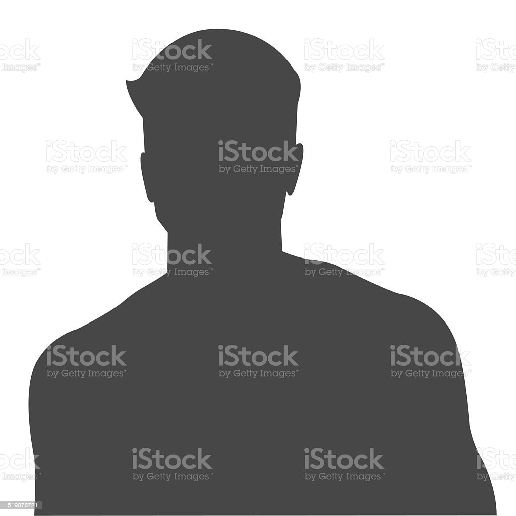 Male silhouette as avatar profile picture stock photo