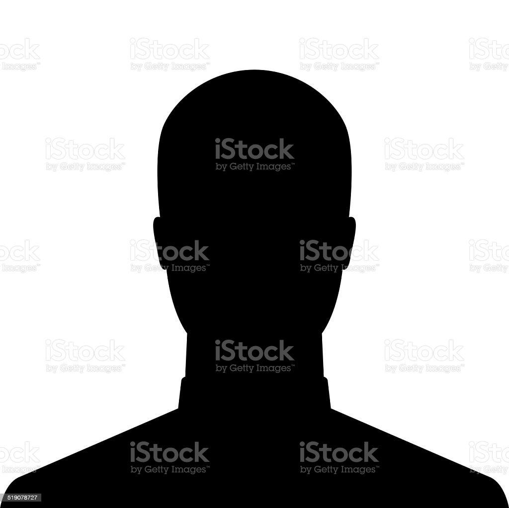 Male silhouette as avatar profile picture stock photo