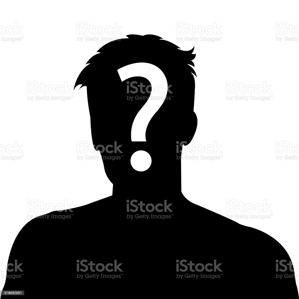 Male silhouette profile picture with question mark stock photo