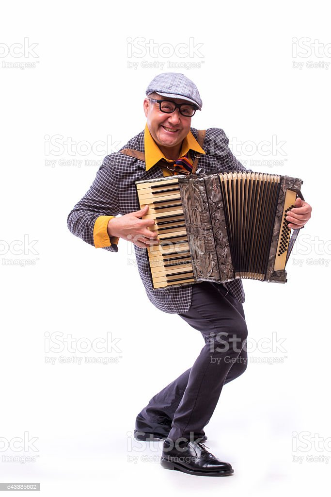 Male singer artist play on accordion on white background stock photo