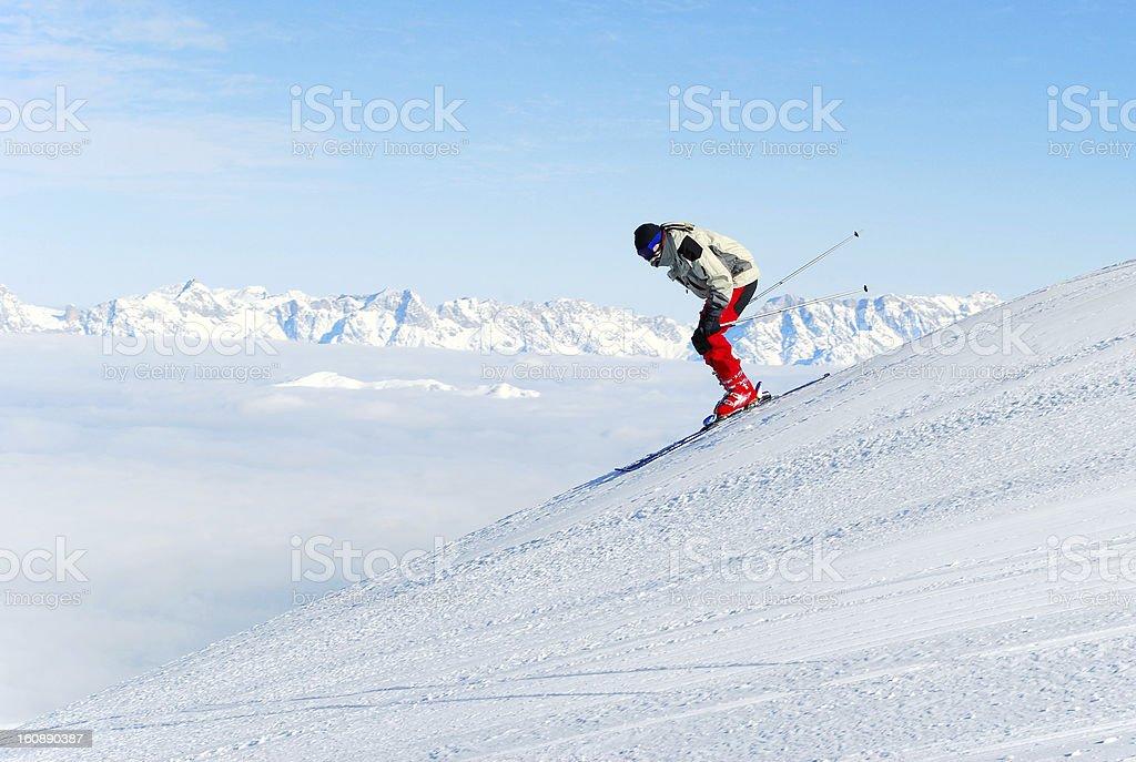 male skier at ski piste stock photo