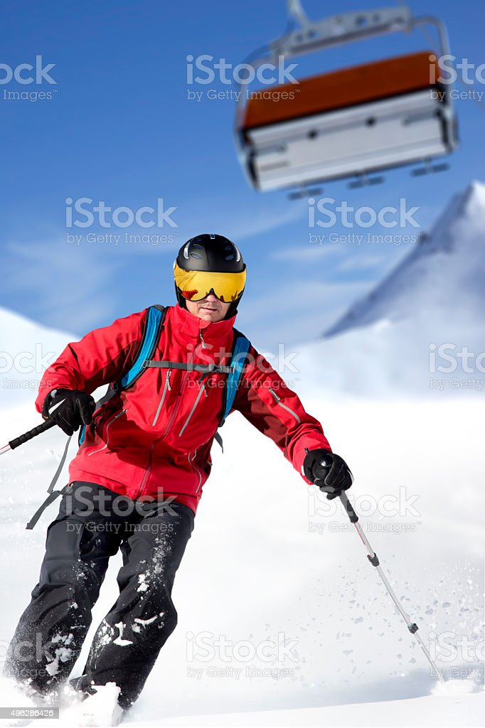 Male skier back country stock photo
