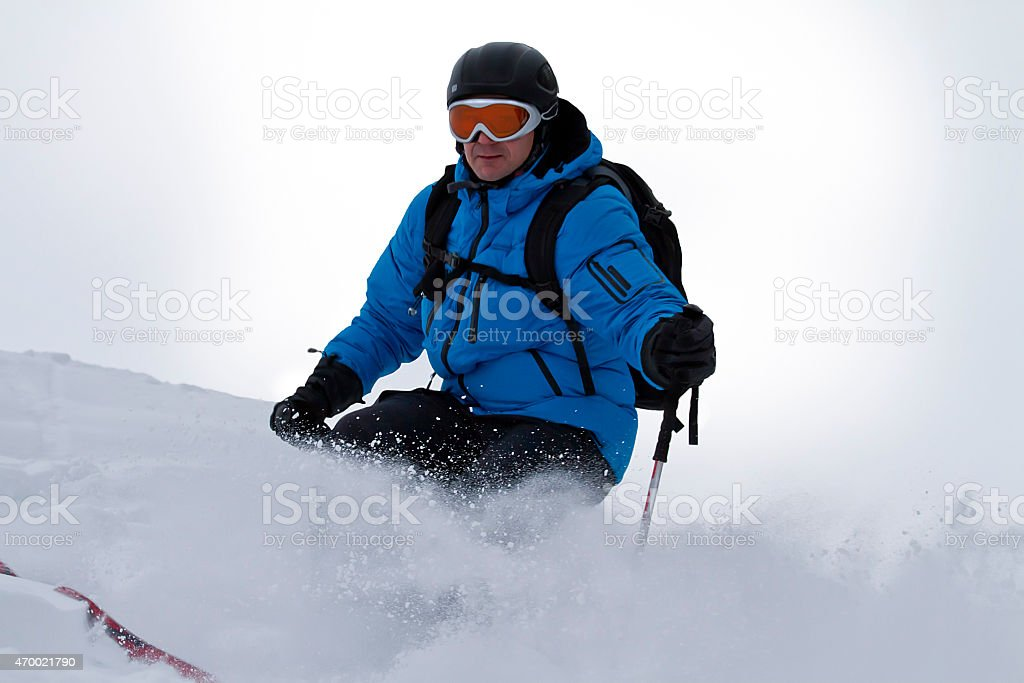 Male skier backcountry stock photo