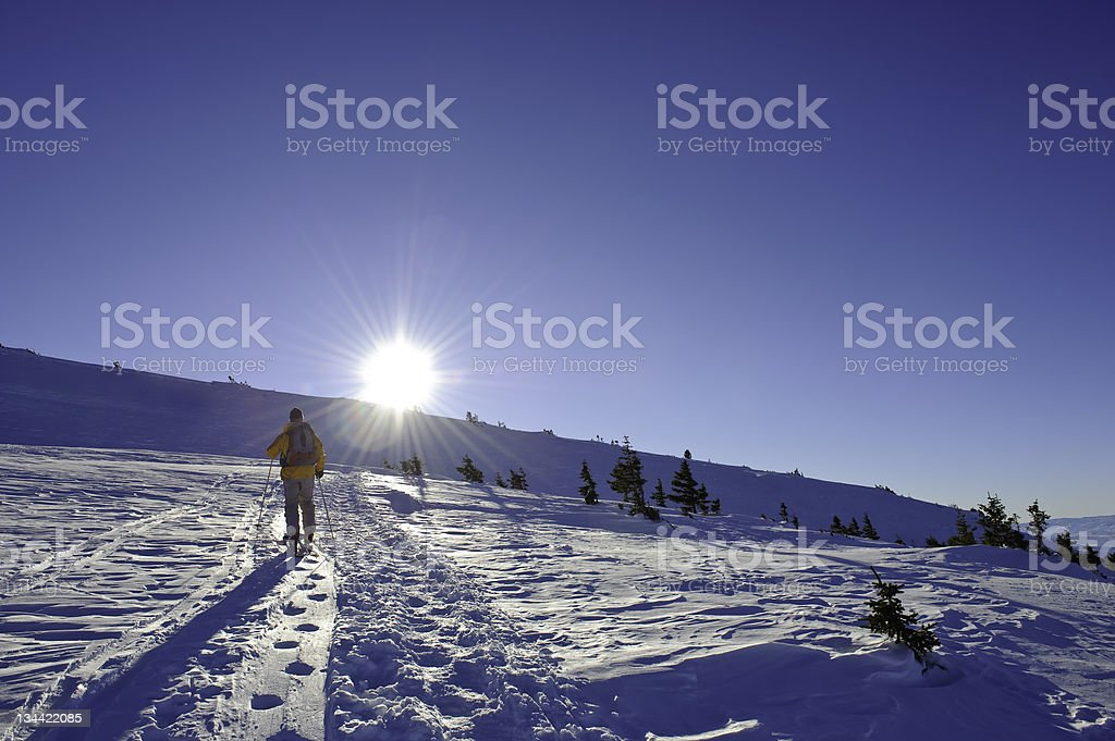 Male Skier Ski Mountaineering High in the Mountains stock photo