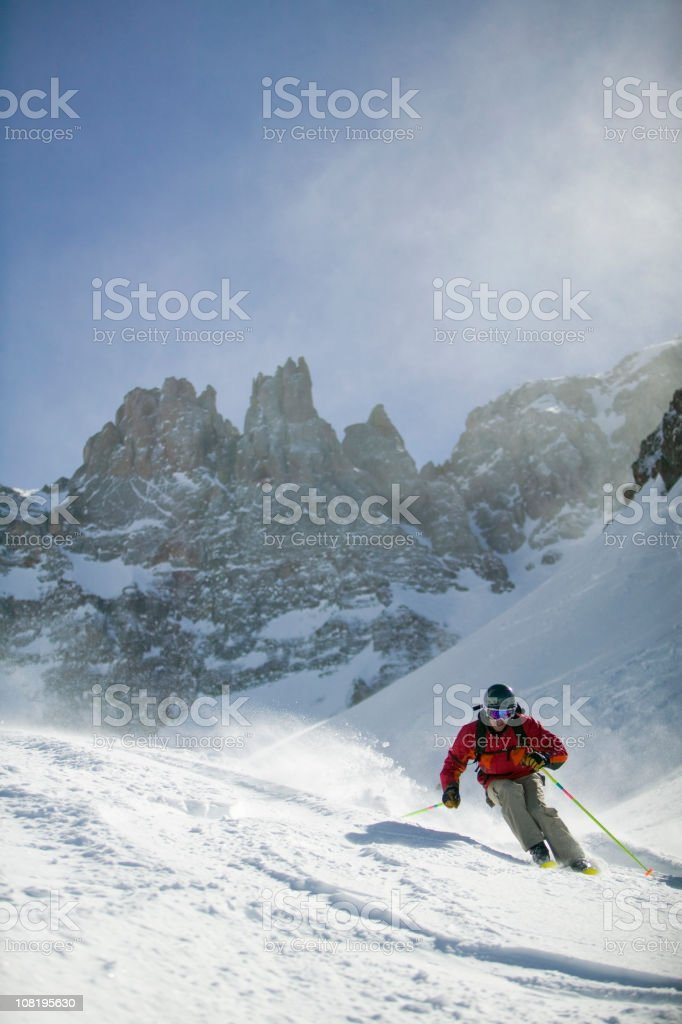 Male skier with mountain background royalty-free stock photo