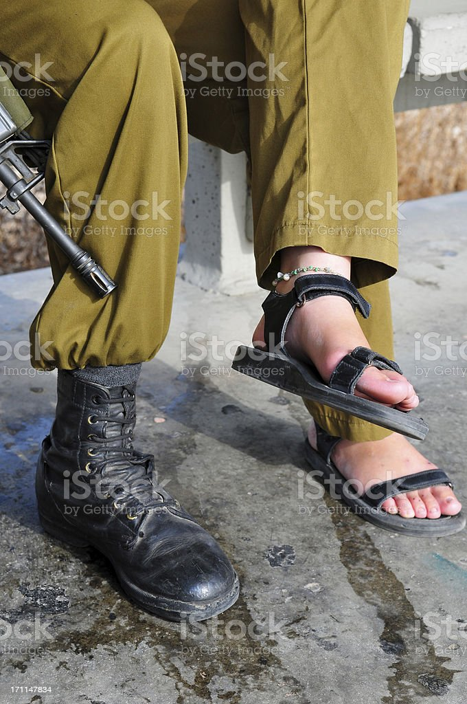 Male and Female soldiers in Israel stock photo