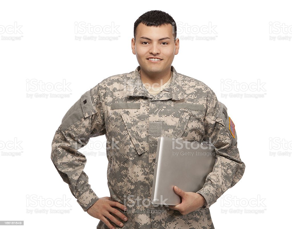 Male soldier holding a laptop computer royalty-free stock photo