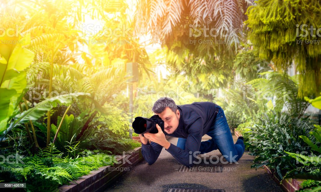 Male squat, photographing green nature on camera stock photo