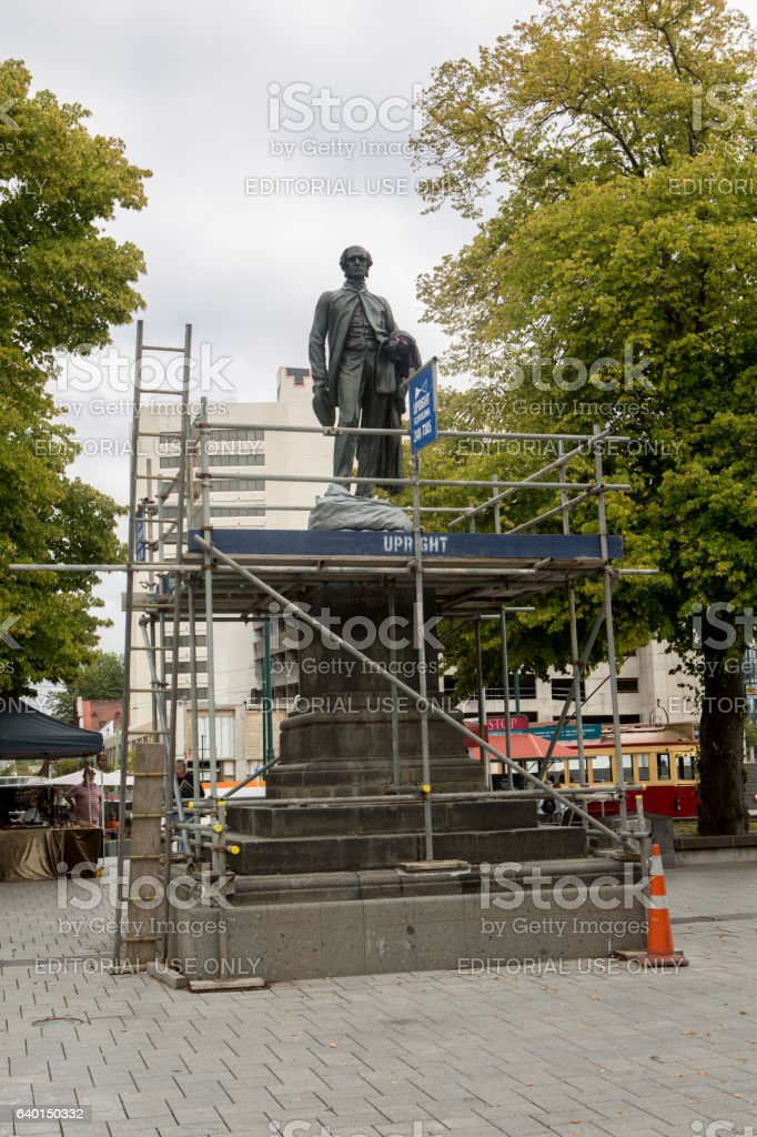 Male statue in front of the Christchurch cathedral stock photo