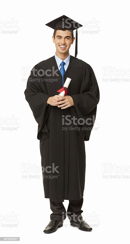 Male Student Holding Bachelor's Degree - Isolated stock photo