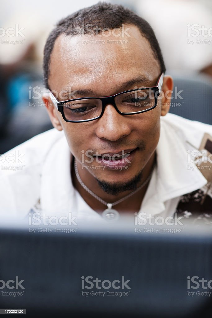 Male student in computer lab royalty-free stock photo