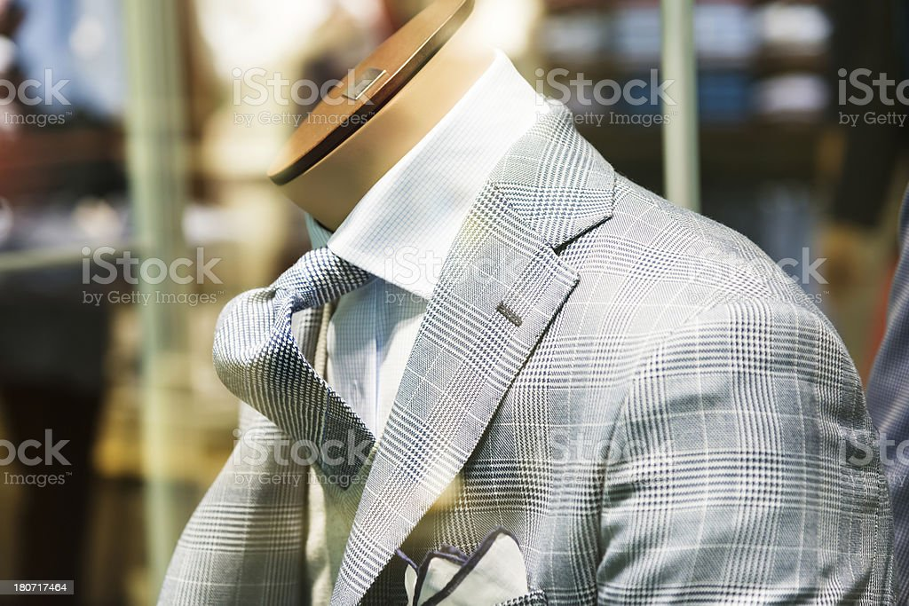 male suit in shop stock photo
