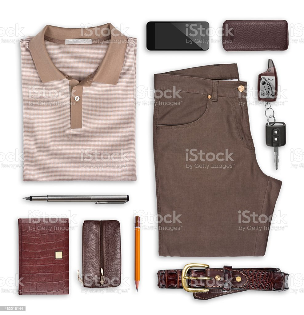 Male summer clothes and accessories isolated on white stock photo