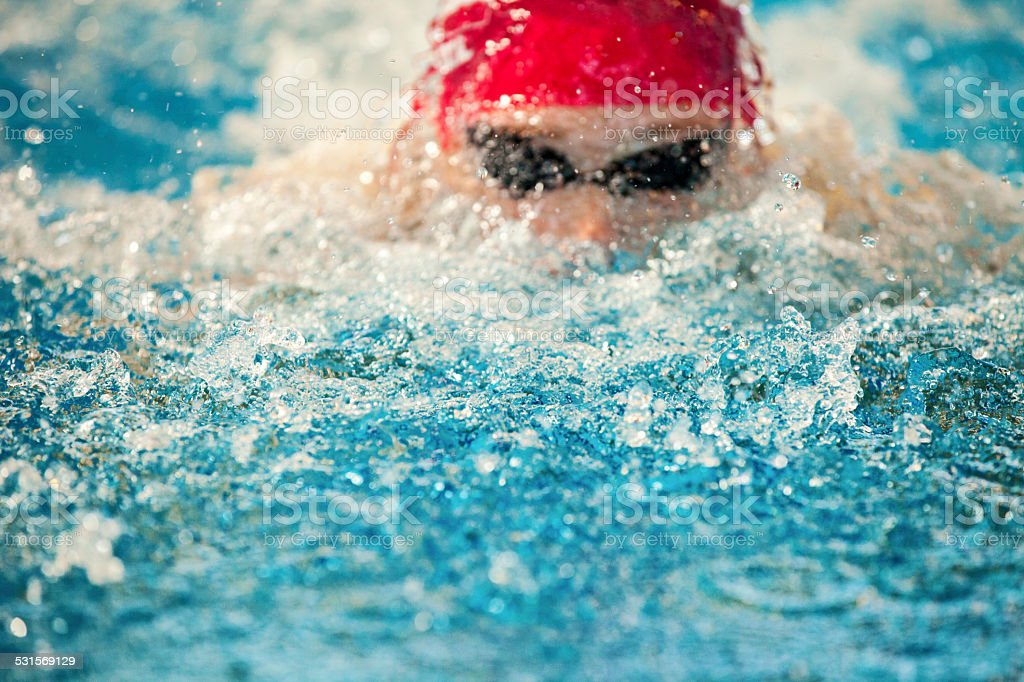 Male Swimmer In Water stock photo