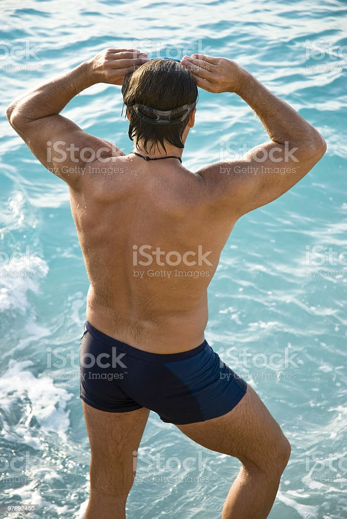 Male swimmer stock photo