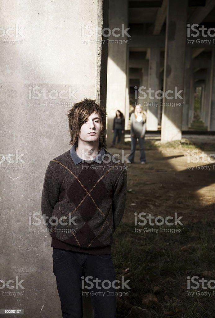 male teen industrial grunge scene - teens royalty-free stock photo