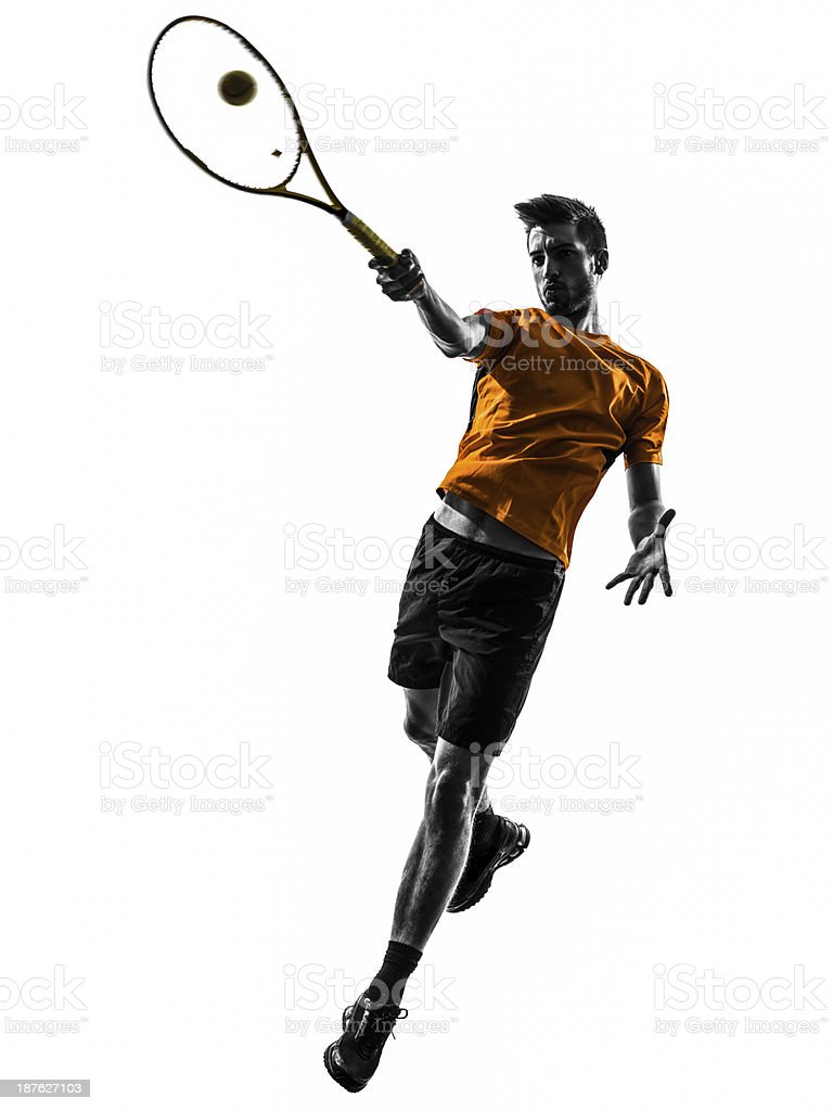 Male tennis player on white background stock photo