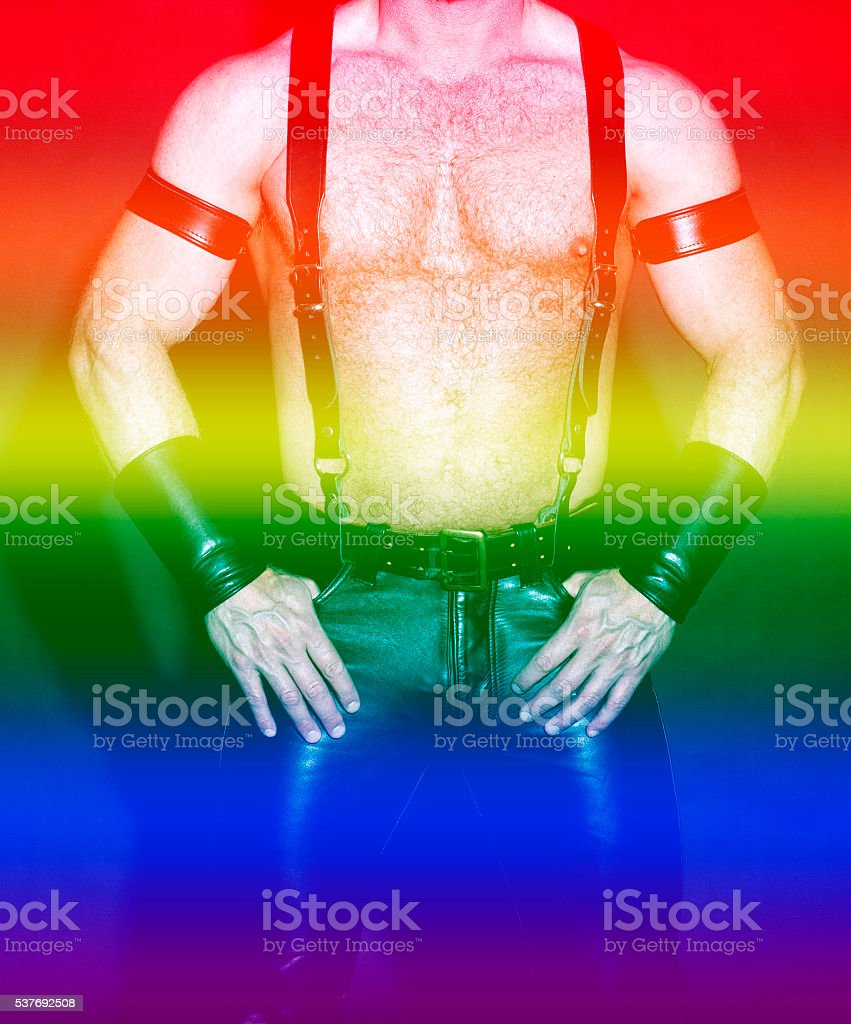 male torso in leather with rainbow colors for gay pride stock photo