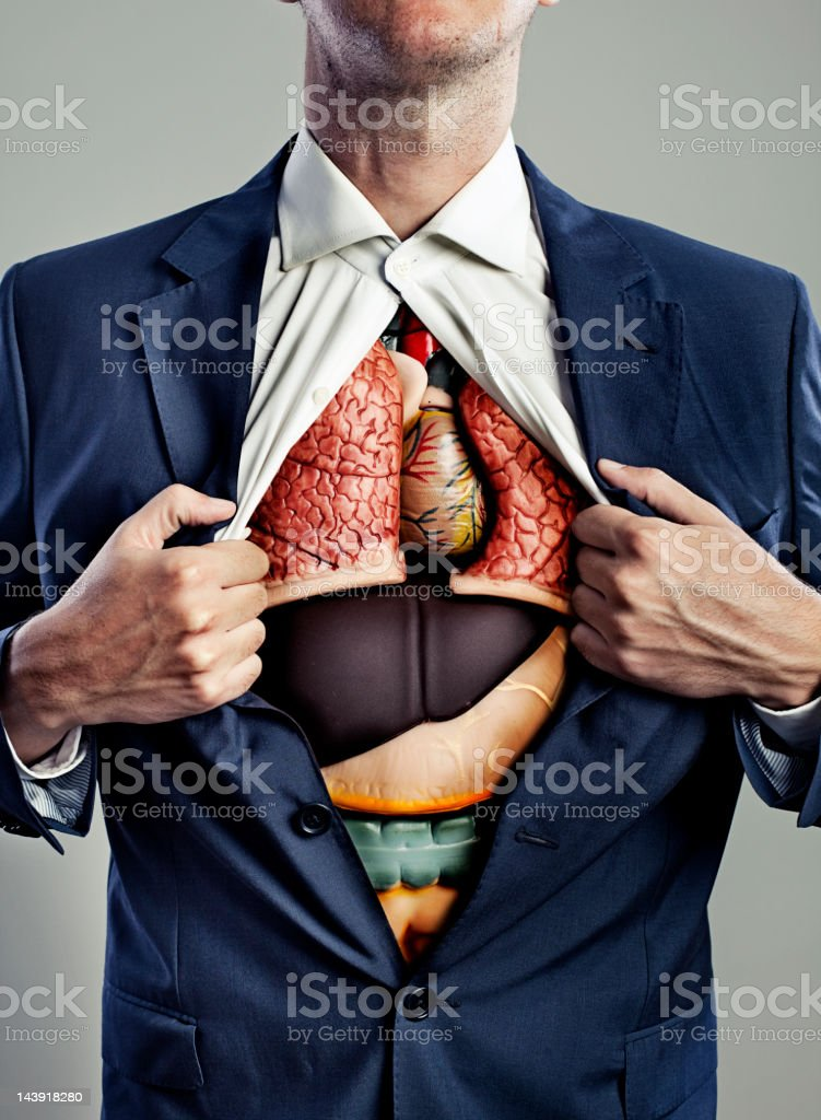 Male torso with internal organs visible stock photo