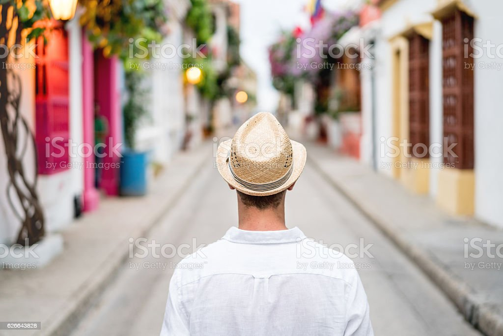 Male tourist sightseeing in Cartagena stock photo