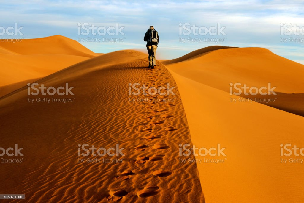 Male tourists walking on the sand dunes, morning, Mhamid, Morocco stock photo