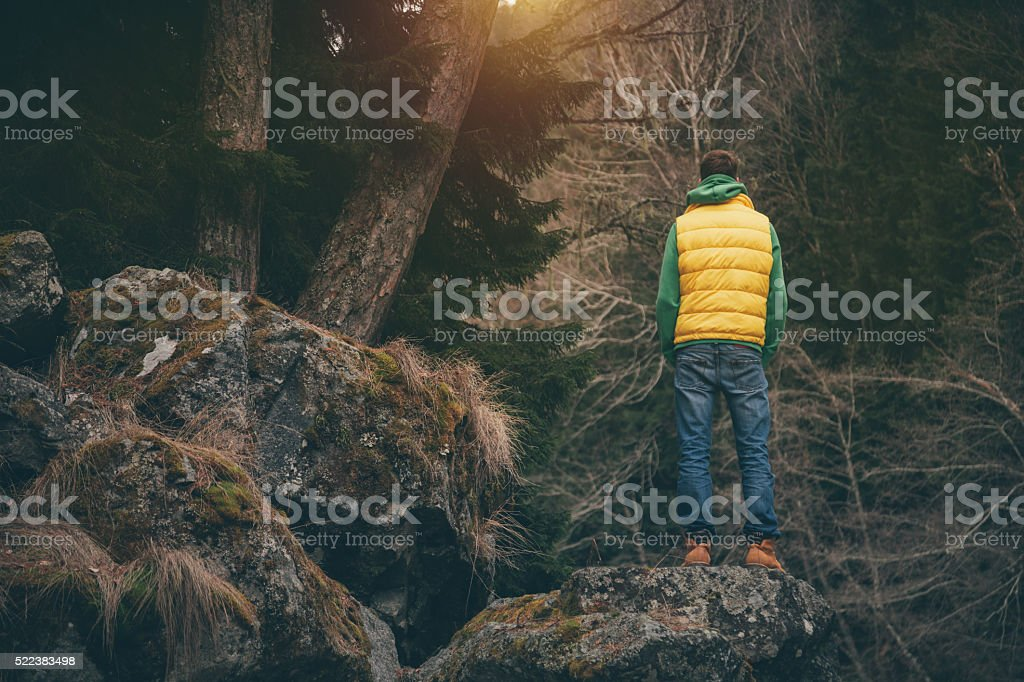 Male traveler enjoys the view in a mountains stock photo