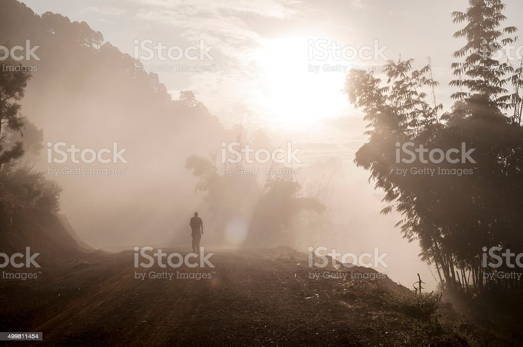 Male traveler trekking at sunrise in misty forest in Burma stock photo