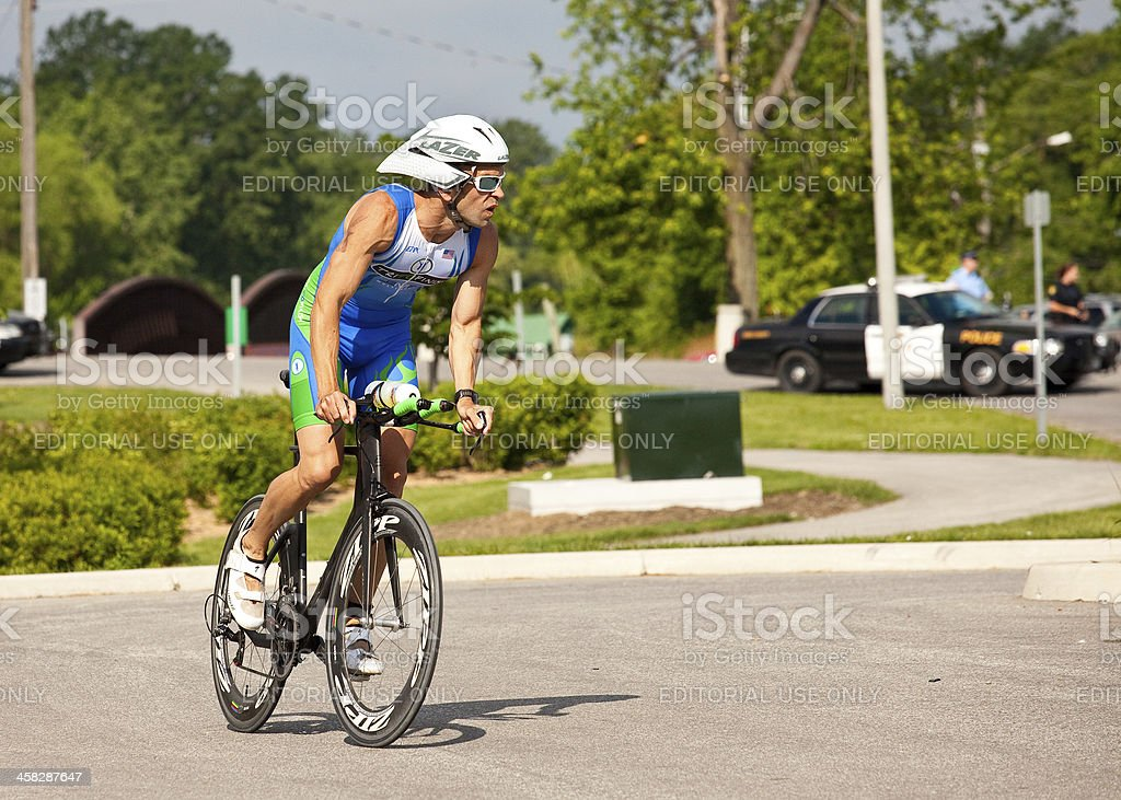 Male Triathlete Cycling stock photo
