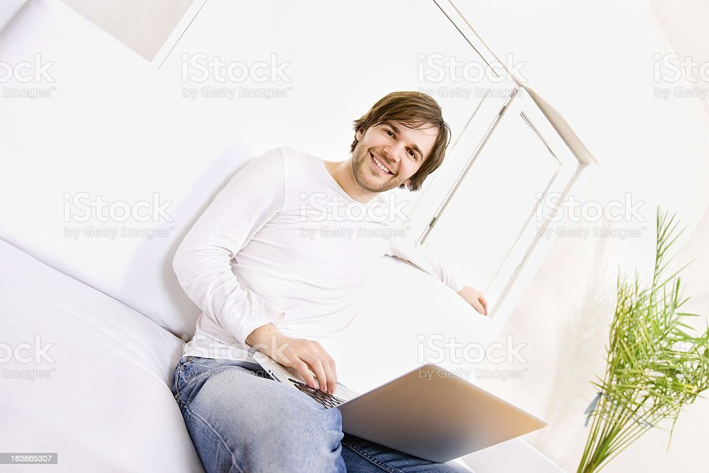 Male using Computer - Wide Angle and Copy Space royalty-free stock photo