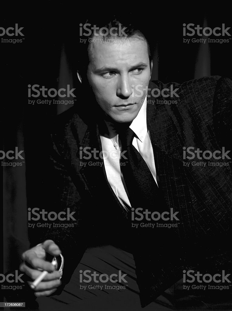 Male vintage styled smoker royalty-free stock photo