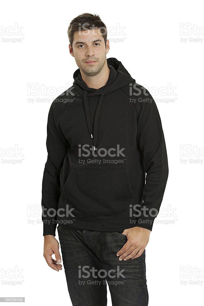 Male wearing blank black hoodie stock photo